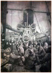 Image in Shaun Tan's 'The Arrival' on seventh page of chapter II